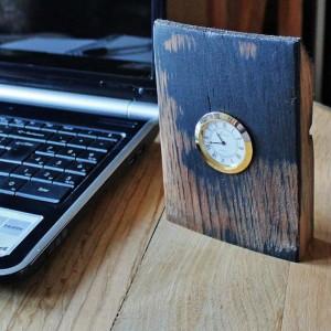 Oak Whisky Barrel Stave Desk Clock