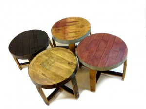 "The ""Snap"" Wine & Bourbon Barrel End Tables (Red, Burgundy, Black, Oak, Round Tables)"